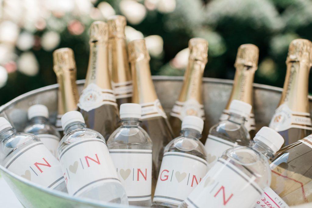 Customized champagnefles & waterflesje